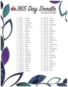 Sketchbook Challenge, 365 Day Challenge, Journal Challenge, Drawing Challenge, Monthly Challenge, Bullet Journal Quilting, Drawing Ideas List, Bujo Doodles, Art Journal Prompts