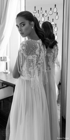 elihav sasson spring 2018 bridal jewel neck cap sleeves fringe beaded bodice a line wedding dress (vj 01) slit skirt bv boho