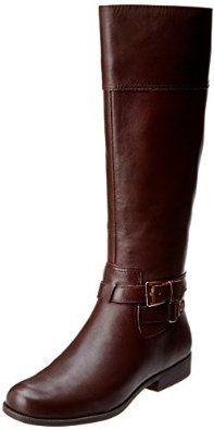 AK Anne Klein Women's Coldfeet Wide Leather Riding Boot in brown $97