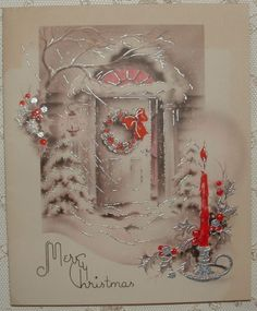 Silvered-Icy-Front-Door-1941-Vintage-Christmas-Greeting-Card