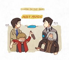 Supernatural x Detroit become human Castiel and Dean, Connor and Hank Who tf is Castiel btw? Detroit Being Human, Detroit Become Human Connor, Fandom Crossover, Anime Crossover, Destiel, Supernatural Comic, Supernatural Crossover, Becoming Human, Memes