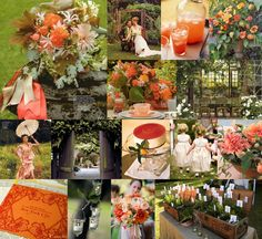 Wedding Mood: vibrant, secret garden Palette: satsuma orange, sweet peach &garden green