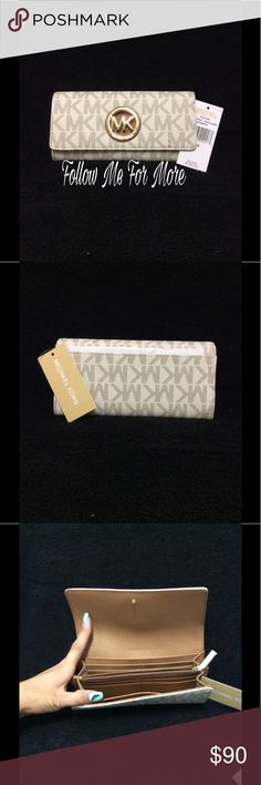 💎NEW Michael Kors Fulton Vanilla Wallet Wallet is made of grained leather and Gold hardware and has a Gold MK Logo Medallion on the front flap and a slip pocket on the back. Has a snap closure and the interior has a full length zip pocket, 10 credit card slots, two billfold pockets and two receipt pockets.  Color: Vanilla  Measurements: 7.75 inches wide x 4 inches high x 1.25 inches deep Closure: Top Flap Material: Leather Style: Continental Retail: $178 🚫NO TRADES  ✨More MK and other…