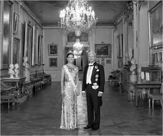 The Swedish royal court released a new official photo of the King and the Crown Princess. Victoria is wearing a repeated Jenny Packham gold brocade gown and the Cut Steel Tiara. The shimmery metallic gown looks magnificent in the black and white photo.