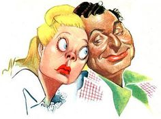 Alice Faye and Phil Harris in 1947 NBC promotional art by Sam Berman