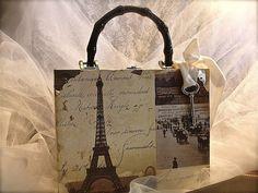 Paris theme cigar box purse, Eiffel tower novelty purse