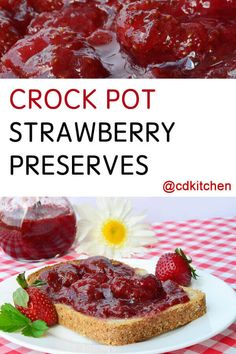 Canning made easy with your crockpot! Simply let the ingredient simmer until you have the right, thick consistency, then put into jelly jars. Freezer Jam Recipes, Jelly Recipes, Canning Recipes, Fruit Recipes, Crockpot Recipes, Easy Canning, Drink Recipes, Strawberry Freezer Jam, Strawberry Jam Recipe