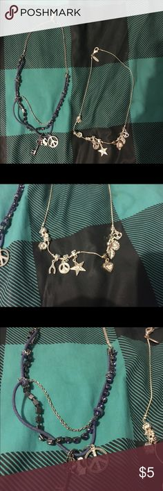 Charm Necklace & Rope Chain Necklace One has a bunch of little charms and the other has a blue rope intertwined with chain. ALL NECKLACES IN MY CLOSET 2 for $5 Aeropostale Jewelry Necklaces