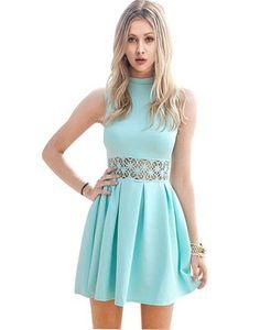 Women Summer Sleeveless Casual Evening Party Cocktail Short Mini Dress(Small/ US…