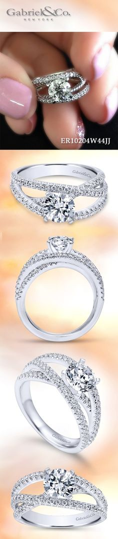 Gabriel & Co. - Voted #1 Most Preferred Fashion Jewelry and Bridal Brand.  Meet Mackenzie-  This unique 14k White Gold Round Free Form Engagement Ring.