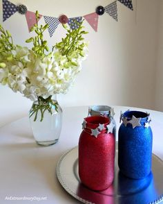 Celebrating Independence Day with some Sparkle with Mason Jars and Flowers at AnExtraordinaryDay.net