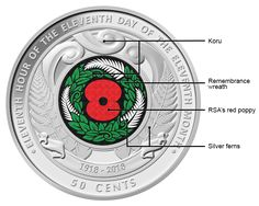 Image of the Armistice Day coin highlighting the RSA red poppy, remembrance wreath, silver ferns and koru Diy Wreath, Wreaths, Silver Fern, Armistice Day, Kiwi Bird, Worry Dolls, Kiwiana, Red Poppies, New Zealand