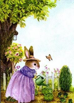 Bunny in the garden Susan Wheeler, Illustration Art Drawing, Family Illustration, Beatrix Potter, Les Moomins, Rabbit Art, Bunny Art, Peter Rabbit, Woodland Creatures