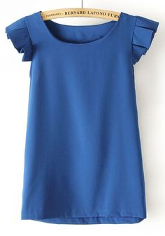 Blue Falbala Round Neck Sleeveless Chiffon Blouse