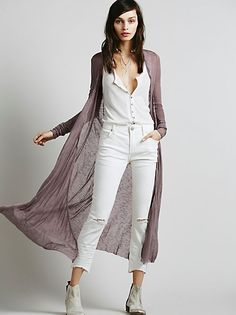 FP Beach Ribbed Up Maxi Cardigan at Free People Clothing Boutique