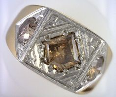 Art Deco Cognac Diamond 14kt Gold  Platinum Mens Ring