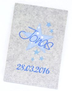 U-Heft Hülle Stern Sterne  Blau  Filz Umschlag