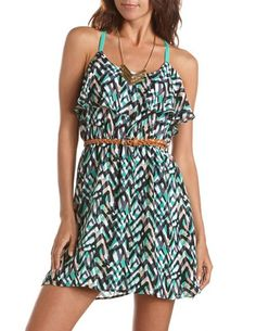 Belted Ruffle-Bust Printed Dress: Charlotte Russe