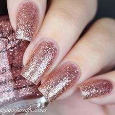 """Excited to share this item from my shop: Pinky Promise"""" Light Pink Glitter Polish - Full size Bottle. Gold Nails, Pink Nails, Glitter Nails, Pink Sparkle Nails, Gradient Nails, Bride Nails, Wedding Nails, Gold Wedding, Nail Ideas"""