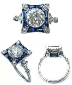 0.93ct Diamond & Sapphire Ring in Platinum
