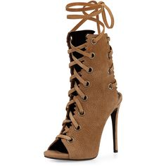 Giuseppe Zanotti Suede Lace-Up Boot ($1,595) ❤ liked on Polyvore featuring shoes, boots, ankle booties, heels, ankle boots, taupe, high heel ankle booties, lace up ankle boots, taupe booties and suede booties