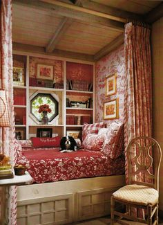 Love this as a bed/reading nook in a small teen bedroom/library-office