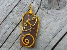 Wire Wrapped pendant, Sea glass pendant, Genuine Sea glass, Birthday gift, Genuine Sea stone, Beach Stone Pendant, Gold Copper wire