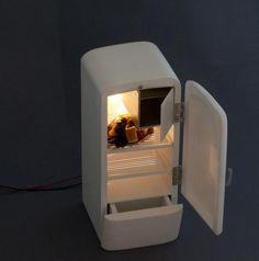 miniature retro fridge. Peter Tucker I love the idea of working lights in a dollhouse.
