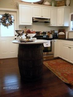 #winebarrel kitchen island! Perfect for a smaller kitchen but need a little more counter space.