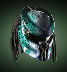 Nice and Cool Predator Helmet Motorcycle - Color Green - DOT Approved