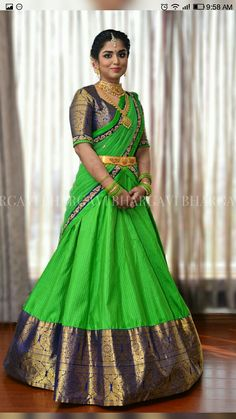 Pattu Pavadai is a traditional attire of south Indian women, especially for youngsters. pattu pavadai is also known as half saree. Half Saree Designs, Pattu Saree Blouse Designs, Saree Blouse Patterns, Bridal Blouse Designs, Lehenga Designs, Banarasi Lehenga, Half Saree Lehenga, Lehnga Dress, Lehenga Style