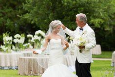 Elegant Georgia Home Wedding | Bride with father adjusting veil