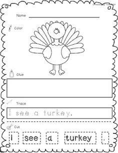 thanksgiving cut paste and trace sample
