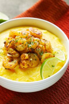 Slow Cooker Cheesy Polenta with Chili Lime Shrimp