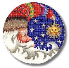 "Needlepoint Santa Ornament - Santa as a half moon with stars and sun. design: 5 1/2"" across  18 mesh  $56.00"