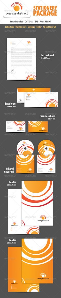 Orange abstract Stationery Package