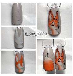 Ideas For Autumn Nails Fox Nail Art Hacks, Nail Art Diy, Easy Nail Art, Cartoon Nail Designs, Fox Nails, Anime Nails, Animal Nail Art, Nail Polish Crafts, Nail Art Techniques