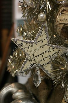 Nancy and I had craft night at Loot last month and started making some ornaments for a little silver tree at the shop.   We made these star...