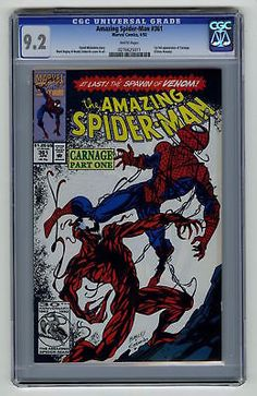 #certified #graded #cgc #cpgx #art #DC #Marvel #comic Amazing Spider-Man #361 CGC 9.2 HIGH GRADE Marvel KEY 1st Carnage MOVIE HOT