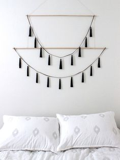 Hanging decor: simple black hanging tassel garland wall hanging