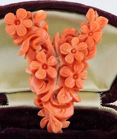 Antique C. 1860 Victorian Carved Salmon Coral Flower Chinese Necklace Pendant!