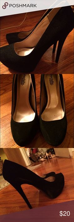 Black suede platform pumps Beautiful new suede black platform pumps. Worn once. Elongates your legs and makes your butt look fantastic! Easy to walk in because of the platform. Charlotte Russe Shoes Heels