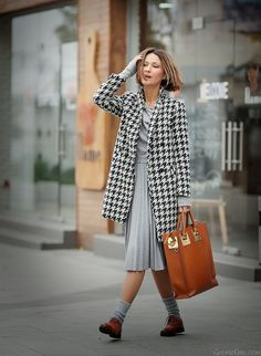 Hound's tooth coat on Galant Girl