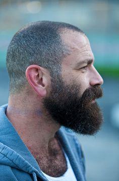buzzed head and big beard