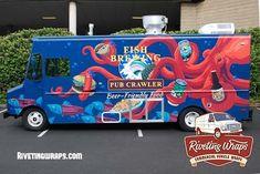 Outstanding new branding for Woodinville WA based Fish Brewing Food Truck. Food truck wraps by Riveting Wraps Best Pickup Truck, Food Truck Design, Food Design, Truck Crafts, Best Food Trucks, Food Vans, Van Wrap, Monster Truck Birthday, Truck Art