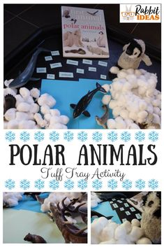 Polar Animals- Tuff Tray Activity - A simple tuff tray activity to develop speaking and listening and storytelling skills in young children, as well as learning new vocabulary around a winter theme. Winter Activities For Kids, Christmas Activities, Kids Christmas, Preschool Education, Kindergarten Activities, Preschool Ideas, Artic Animals, Tuff Spot, Rabbit Ideas