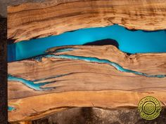Double waterfall live edge river coffee table with glowing image 6 Wood Resin Table, Wood Table Design, Glow Effect, Wood Structure, Live Edge Table, Wood Pieces, Natural Wood, A Table, Waterfall