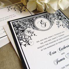 Black and White Wedding Invitations Vintage Wedding Invitations Monogram Art Deco Art Nouveau Sample Set. $2.50, via Etsy.