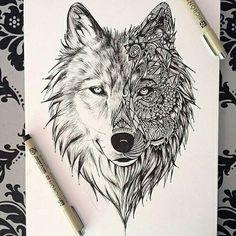 art, black, doodle, draw, pen, wolf
