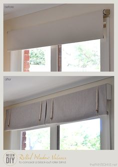 DIY No Sew Rolled Window Valance to Conceal a Black-out Roller Blind